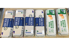 The new labelling on the Huhtamaki egg cartons, using adhesives from Henkel.