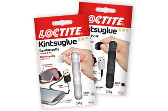 Kintsuglue is available in two colours, white and black.